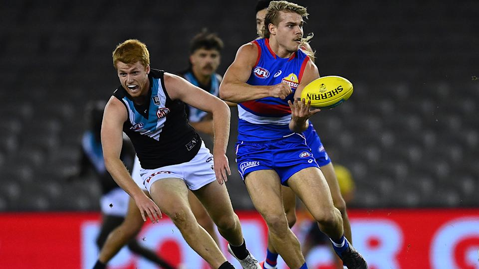 Bailey Smith has emerged as one of the AFL's brightest stars thanks to his colourful off-field personality. (Photo by Quinn Rooney/Getty Images)
