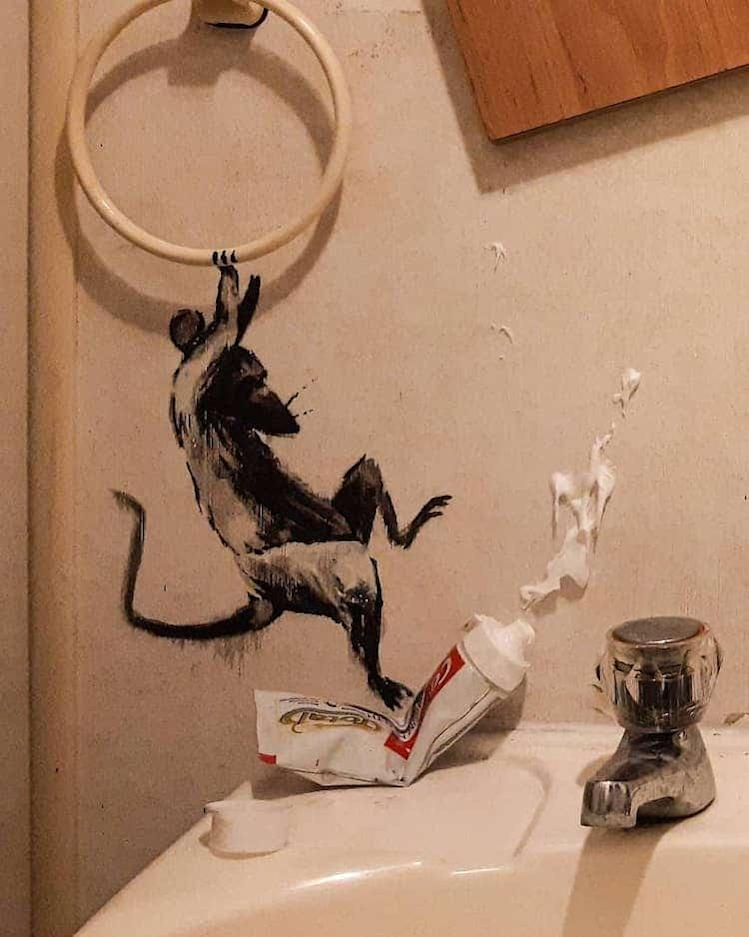 Banksy brought a clan of mischievous mice to life in his own bathroom using his art.