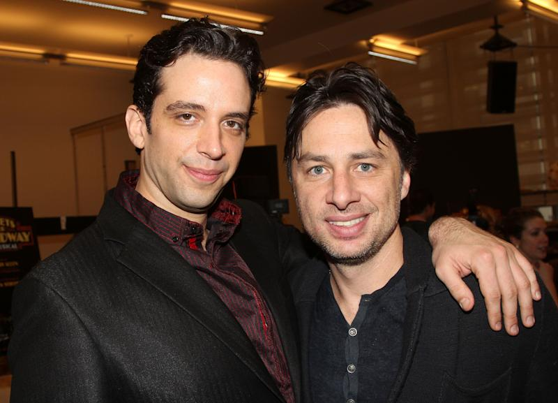 "Nick Cordero and Zach Braff pose backstage at the new musical ""Bullets Over Broadway"" at The St. James Theater on Broadway on February 16, 2014 in New York City."