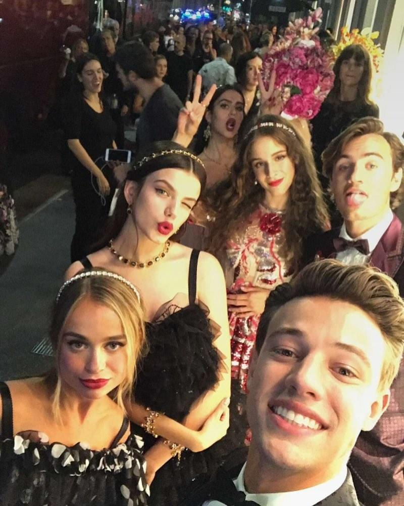 Former Vine star Cameron Dallas with a few of the other teen models, including Coco König, from Dolce & Gabbana's surprise show.
