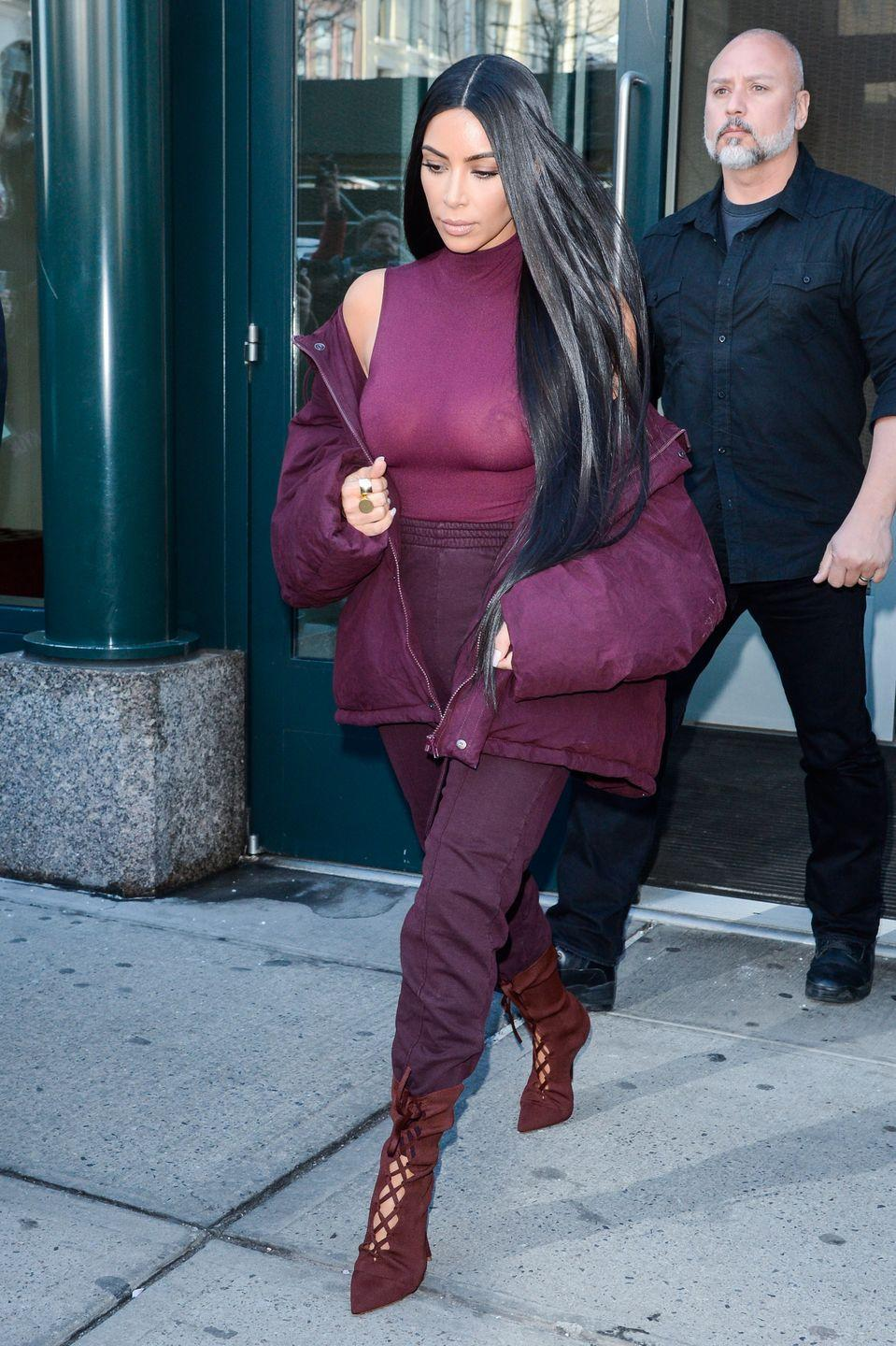 <p>You don't have to show your nips for this one – unless you want to, then do you – but Kim's all burgundy look is one to copy. If you're not into burgundy, go for a groutfit, an all-white look, or a black-on-black-on-black fit. It basically works with any color as long as each item is a slightly different hue. </p>