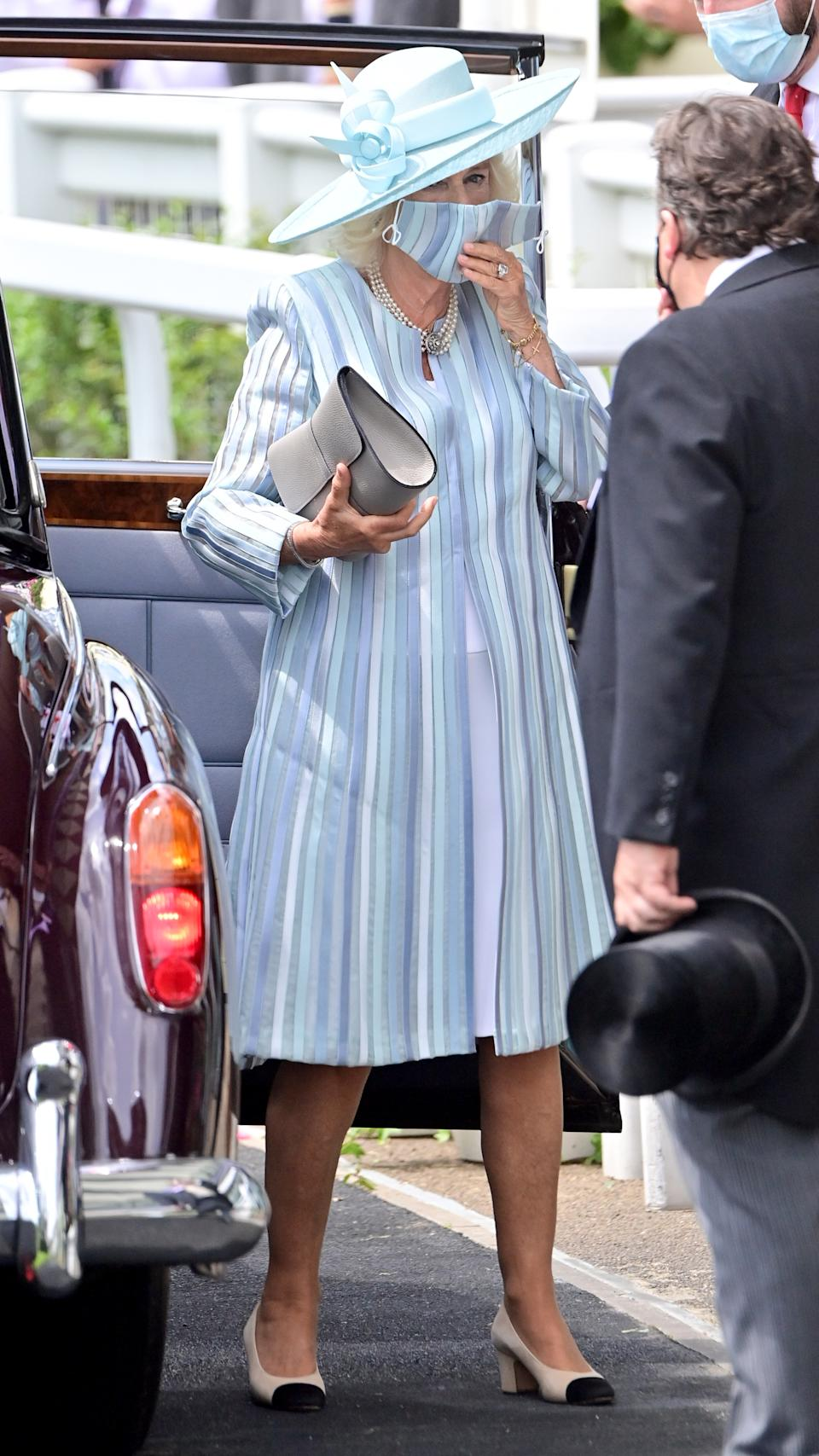 ASCOT, ENGLAND - JUNE 15: Camilla, Duchess of Cornwall attends Royal Ascot 2021 at Ascot Racecourse on June 15, 2021 in Ascot, England. (Photo by Samir Hussein/WireImage)