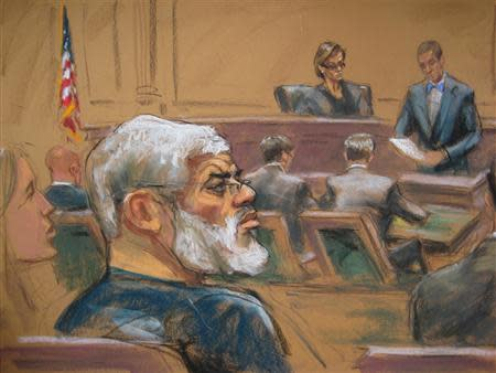 Courtroom deputy Joseph Pecorino (R) reads the verdict alongside Judge Katherine Forrest (background) and Abu Hamza al-Masri (L), the radical Islamist cleric facing U.S. terrorism charges, in this artist's sketch in New York May 19, 2014. REUTERS/Jane Rosenberg