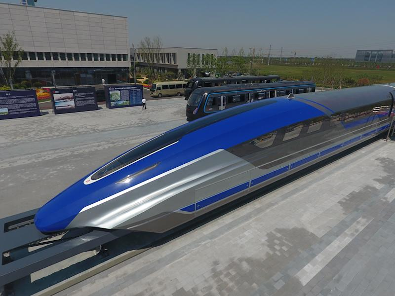 QINGDAO, CHINA - MAY 23: China's first high-speed maglev train testing prototype is seen on May 23, 2019 in Qingdao, Shandong Province of China. China rolled off the production line of a prototype maglev train with a maximum speed of 600 kilometres per hour on Thursday in Qingdao. (Photo by VCG/VCG via Getty Images)