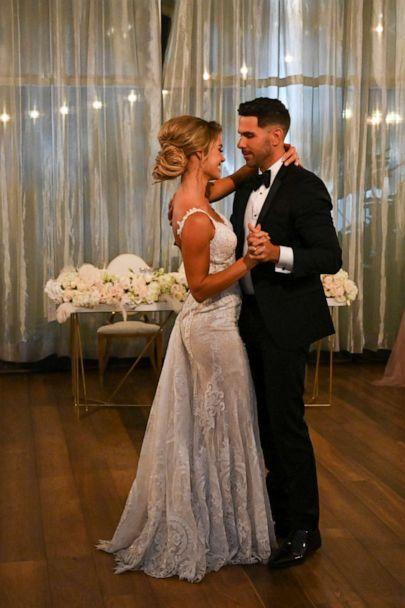 PHOTO: Krystal Nielson and Chris Randone dance together after they get married on Bachelor In Paradise. (John Fleenor/ABC)