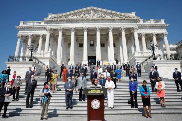 PHOTO: House Speaker Nancy Pelosi speaks during a press event ahead of vote on the George Floyd Justice in Policing Act of 2020 on the East Front House Steps on Capitol Hill in Washington, June 25, 2020. (Yuri Gripas/Reuters)