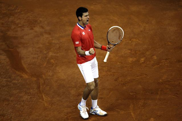 Serbia's Novak Djokovic celebrates after winning a point against Canada's Milos Raonic during their Davis Cup semifinals tennis match in Belgrade, Serbia, Sunday, Sept. 15, 2013. (AP Photo/ Marko Drobnjakovic)