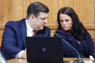 Defense attorneys Chad Frese and Jennifer Frese confer during a hearing for their client Cristhian Bahena Rivera at the Poweshiek County Courthouse in Montezuma, Iowa, on Thursday, July 15, 2021. Bahena Rivera was convicted of killing University of Iowa student Mollie Tibbetts in 2018. A judge delayed Bahena Rivera's sentencing after defense attorneys asserted authorities withheld information about investigations into a nearby sex trafficking ring the lawyers say could have been involved in the fatal stabbing. (Jim Slosiarek/The Gazette, Pool)
