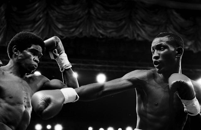 Pernell Whitaker (R) throws a right jab to Rafael Williams at Sands Casino Hotel on August 16, 1986 in Atlantic City, New Jersey. Pernell Whitaker defeated Rafael Williams UD 10. (Photo by: The Ring Magazine via Getty Images)