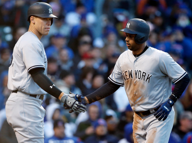 """It's been a fun spring for Aaron Judge and <a class=""""link rapid-noclick-resp"""" href=""""/mlb/players/9325/"""" data-ylk=""""slk:Aaron Hicks"""">Aaron Hicks</a> (right) this year (AP)"""