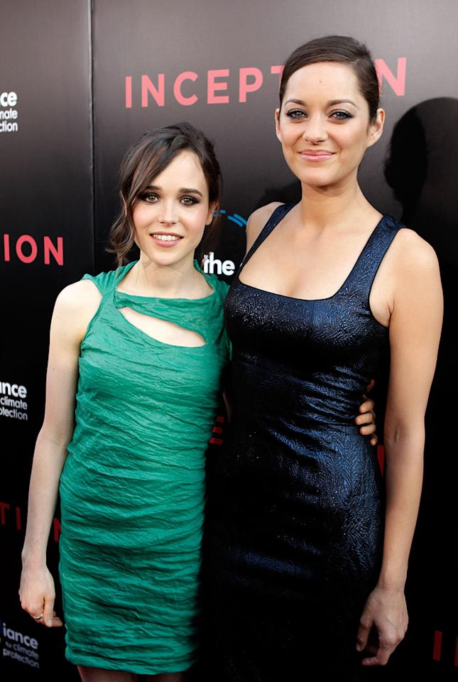 """<a href=""""http://movies.yahoo.com/movie/contributor/1808438069"""">Ellen Page</a> and <a href=""""http://movies.yahoo.com/movie/contributor/1800277300"""">Marion Cotillard</a> at the Los Angeles premiere of <a href=""""http://movies.yahoo.com/movie/1810099246/info"""">Inception</a> - 07/13/2010"""