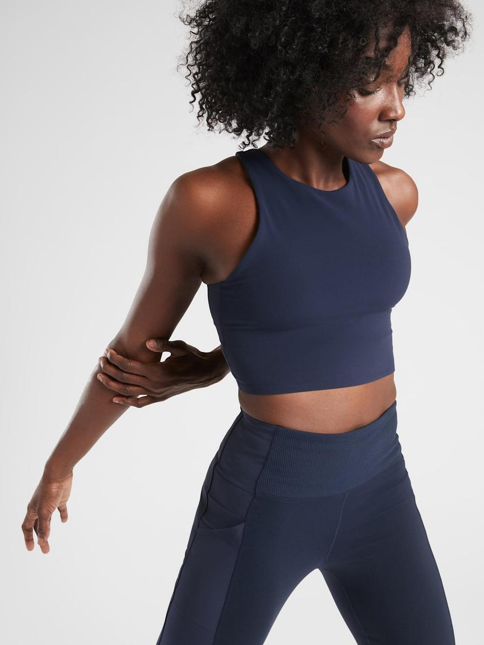 <p>There's a built-in bra inside this crop top, whether you need the <span>Athleta Conscious Crop A-C</span> ($30-$59, originally $59) or the <span>Athleta Conscious Crop D-DD+</span> ($45-$59, originally $59) instead. </p>
