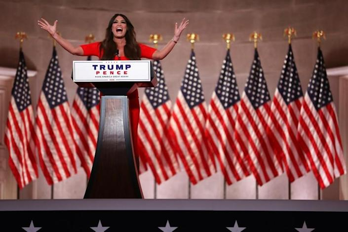 Kimberly Guilfoyle pre-records her address to the Republican National Convention at the Mellon Auditorium in Washington, DC.
