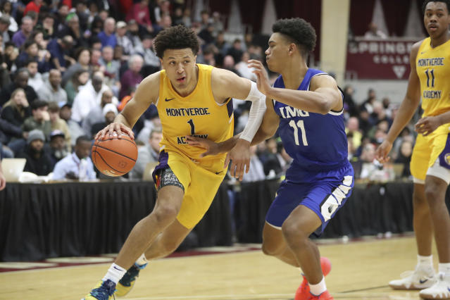 Montverde Academy's Cade Cunningham #1 in action against IMG Academy during a high school basketball game at the Hoophall Classic, Sunday, January 19, 2020, in Springfield, MA. Montverde won the game. (AP Photo/Gregory Payan)