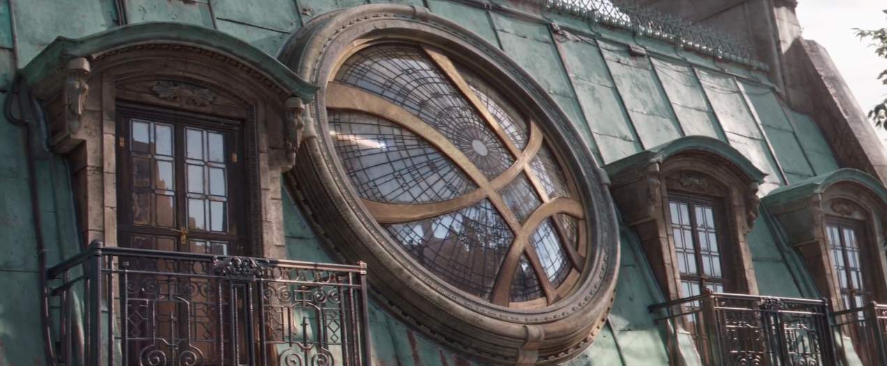 <p>After a quick glimpse at a scared Black Widow, Bruce Banner and War Machine, we see the distant danger reflected in the window of Strange's Sanctum Sanctorum – looks like Thanos attacks New York first. </p>
