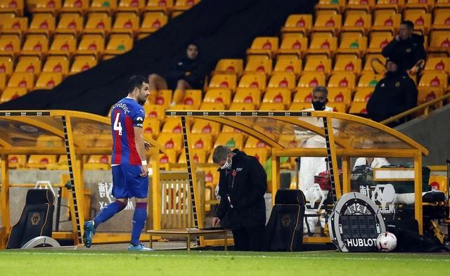 Luka Milivojevic leaves the pitch after being sent off
