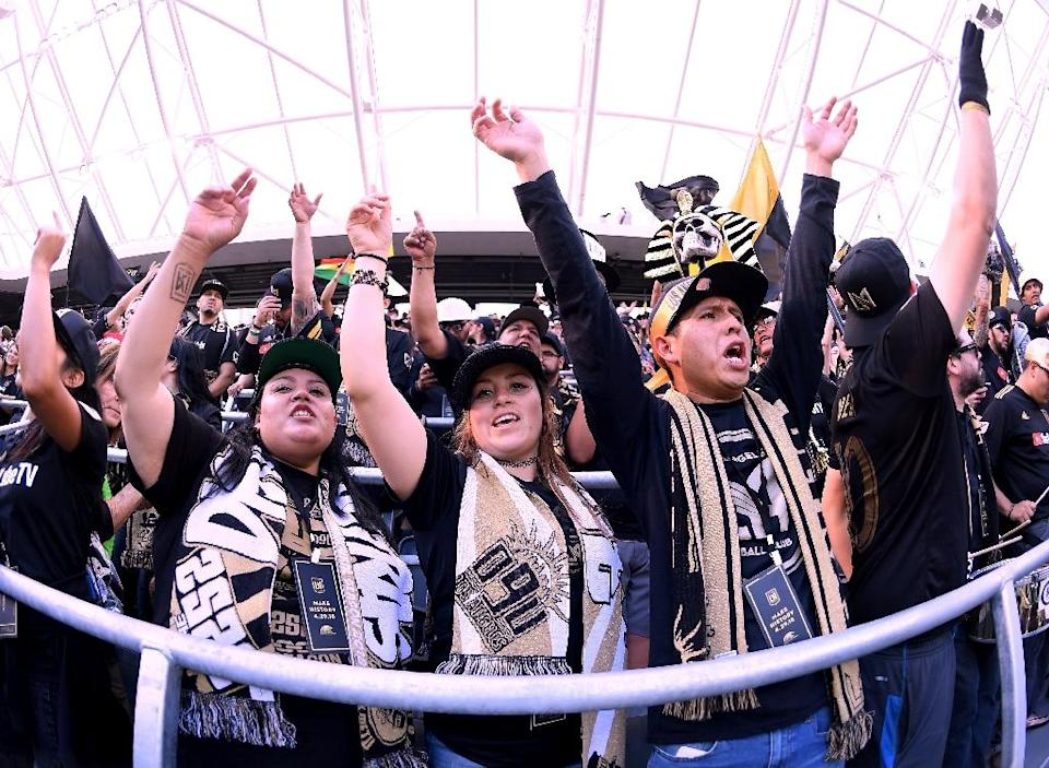 Fans cheer at the inaugural home match of MLS expansion team Los Angeles FC against the Seattle Sounders (AFP Photo/Harry How)