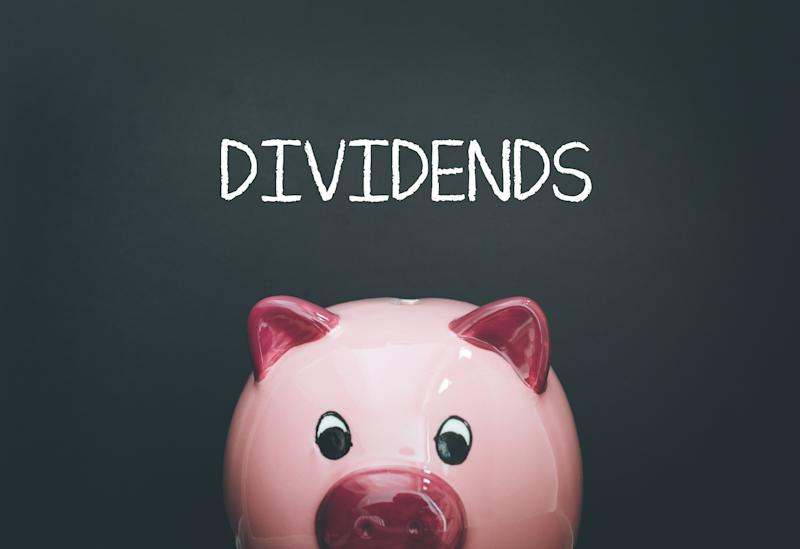 A piggy bank with the word dividends written above it.