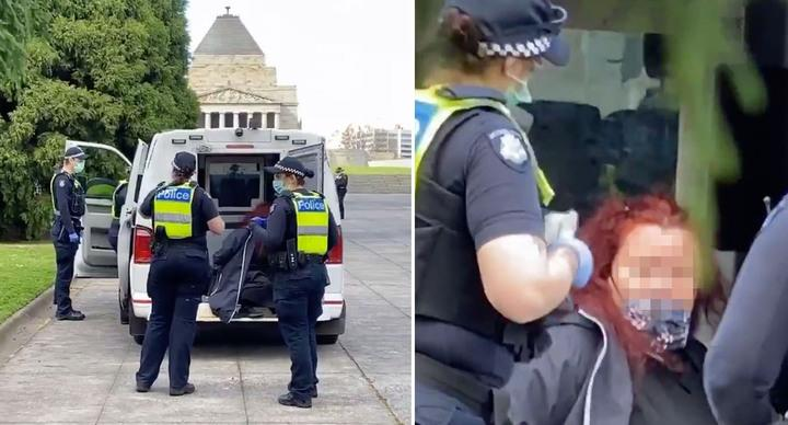 A woman has been arrested ahead of an anti-lockdown rally in Victoria. Source: Twitter/Paul Dowsley