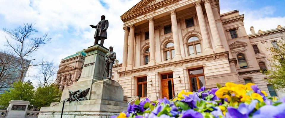 Morton statue in front of Indiana Statehouse, USA
