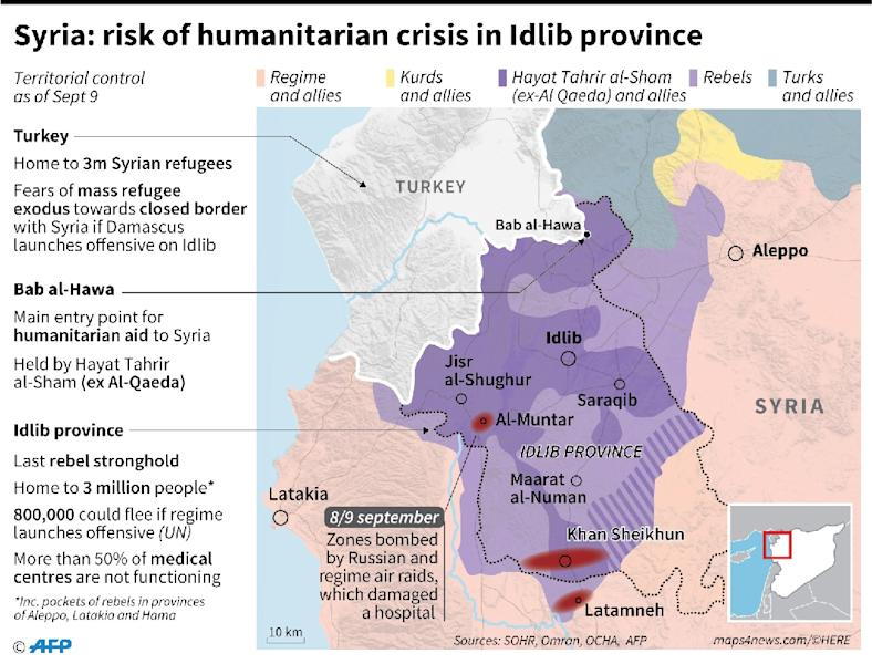 Map locating weekend air raids and territorial control in Idlib province, Syria, with data on the risk of a humanitarian crisis. (AFP Photo/Thomas SAINT-CRICQ)