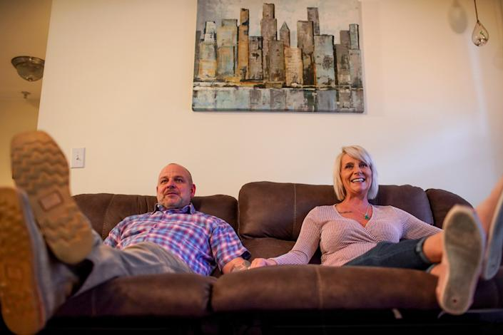 Bret and Susan Fenske go on weekly dates, but they also like to stay home and watch movies side-by-side.