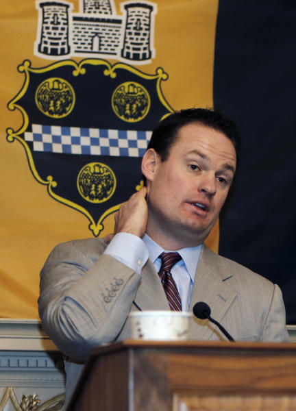 FILE - In this file photo from March 1, 2013, Pittsburgh Mayor Luke Ravenstahl takes questions during a news conference where he announced he has abandoned his bid to seek reelection in Pittsburgh. Mayoral staffers, including three police bodyguards and a personal secretary, have been summoned to the seventh-floor grand jury room in the U.S. Courthouse a few blocks from Ravenstahl's office. (AP Photo/Keith Srakocic)