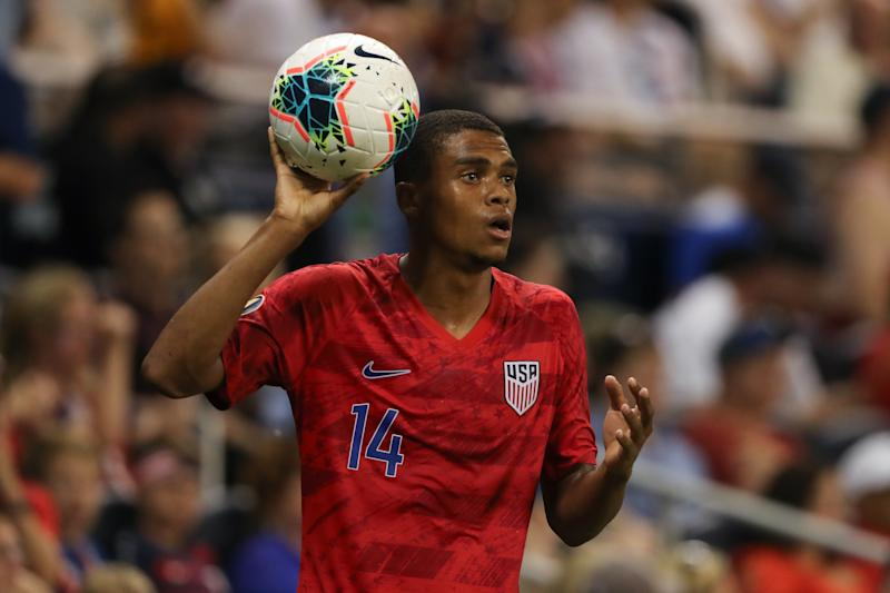 KANSAS CITY, KS - JUNE 26: Reggie Cannon of USA during the Group D 2019 CONCACAF Gold Cup match between Panama v United States of America at Children's Mercy Park on June 26, 2019 in Kansas City, Kansas. (Photo by Matthew Ashton - AMA/Getty Images)