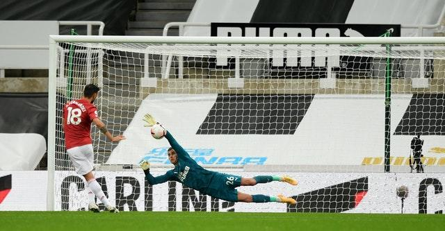 Newcastle goalkeeper Karl Darlow produced a fine save from Bruno Fernandes' penalty kick