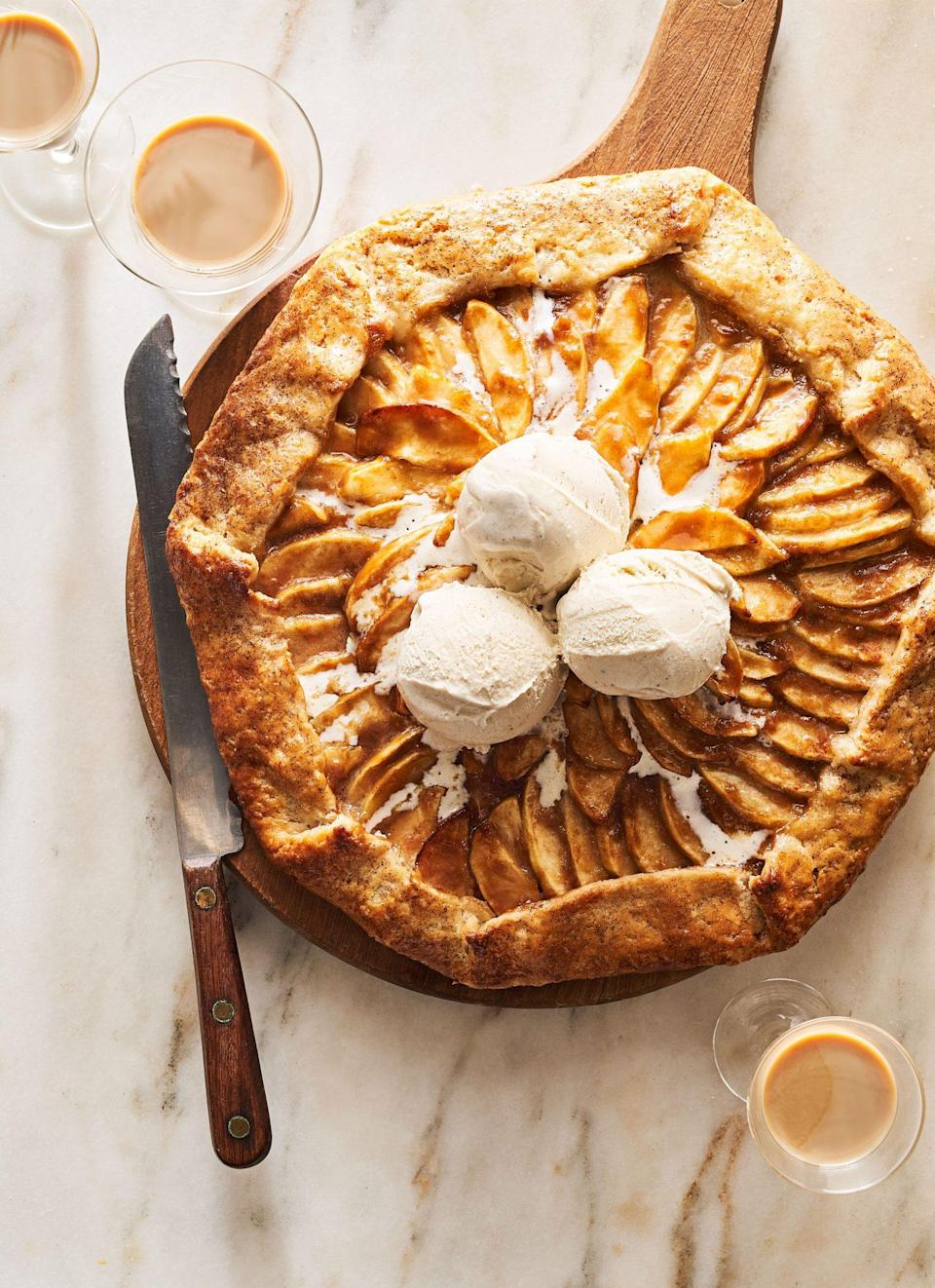 "<p><strong>Recipe: </strong><a href=""https://www.southernliving.com/recipes/jerrelle-guy-salted-irish-cream-apple-crostata"" rel=""nofollow noopener"" target=""_blank"" data-ylk=""slk:Salted Irish Cream Apple Crostata"" class=""link rapid-noclick-resp""><strong>Salted Irish Cream Apple Crostata</strong></a></p> <p><a href=""https://www.southernliving.com/culture/jerrelle-guy-has-never-liked-measuring-cups"" rel=""nofollow noopener"" target=""_blank"" data-ylk=""slk:Jerrelle Guy"" class=""link rapid-noclick-resp"">Jerrelle Guy</a> dreamed up this gorgeous fall dessert for us, and it was an immediate hit with readers. The good news for novice bakers is that the flaky crust is so much easier to make than a homemade pie crust. If that's not enough to convince you, one reader said it, ""might be the VERY BEST thing I've ever tasted!!""</p>"