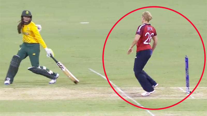 Catherine Brunt, pictured here choosing not to affect the Mankad at the Women's T20 World Cup.
