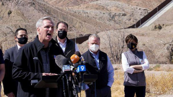 PHOTO: House Minority Leader Kevin McCarthy speaks to the press during a tour for a delegation of Republican lawmakers of the US-Mexico border in El Paso, Texas, March 15, 2021. (Paul Ratje/Reuters)