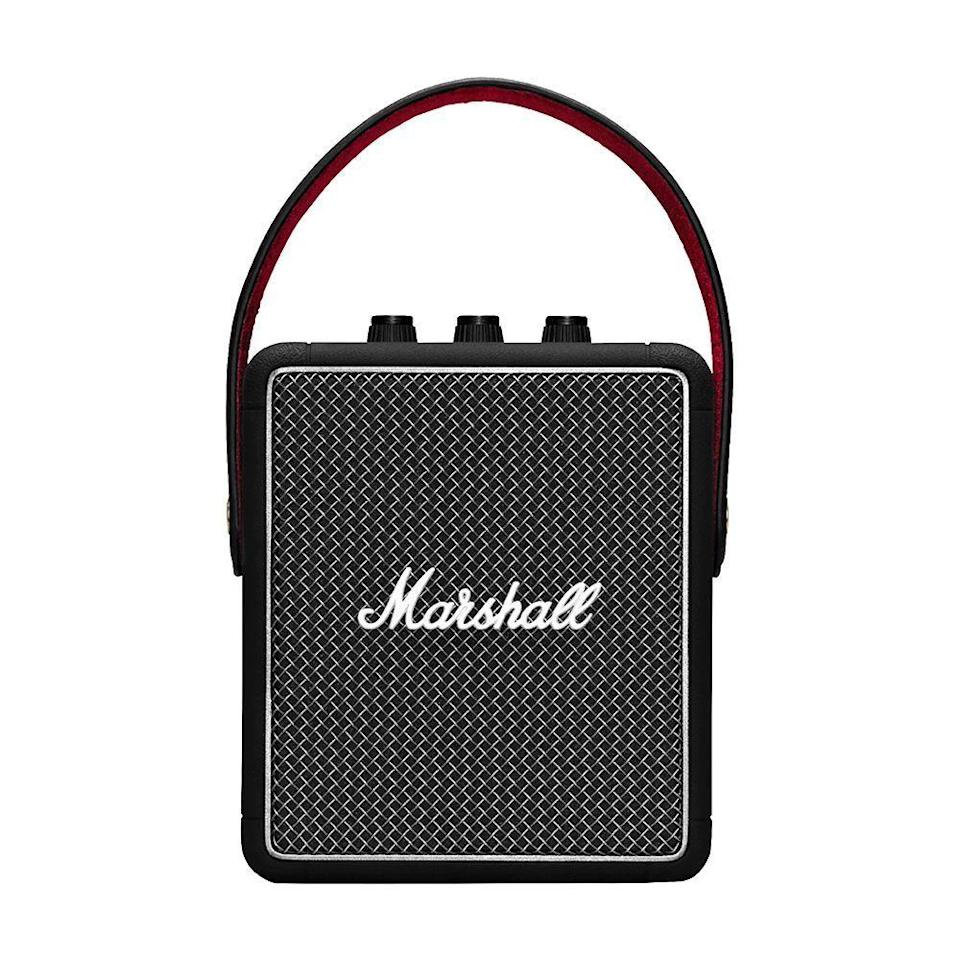 """<p><strong>Marshall</strong></p><p>amazon.com</p><p><strong>$169.00</strong></p><p><a href=""""https://www.amazon.com/dp/B07Q12WDP2?tag=syn-yahoo-20&ascsubtag=%5Bartid%7C2089.g.864%5Bsrc%7Cyahoo-us"""" rel=""""nofollow noopener"""" target=""""_blank"""" data-ylk=""""slk:Shop Now"""" class=""""link rapid-noclick-resp"""">Shop Now</a></p><p>The Marshall Stockwell II wireless speaker is <a href=""""https://www.bestproducts.com/tech/electronics/a14250893/reviews-top-portable-bluetooth-speakers/"""" rel=""""nofollow noopener"""" target=""""_blank"""" data-ylk=""""slk:our top pick in this product category"""" class=""""link rapid-noclick-resp"""">our top pick in this product category</a>. Inspired by the company's legendary amps, The controls of the speaker include a trio of dedicated rotating knobs for adjusting the volume, the bass, and treble. The gadget has a rugged design and an IPX4 rating for water resistance. </p><p>The sound quality of the Stockwell II is excellent. The speaker delivers an immersive, multidirectional audio experience that's among the best in its price range. </p><p>It has Bluetooth 5.0 connectivity, as well as the ability to wirelessly connect to multiple audio sources.</p>"""