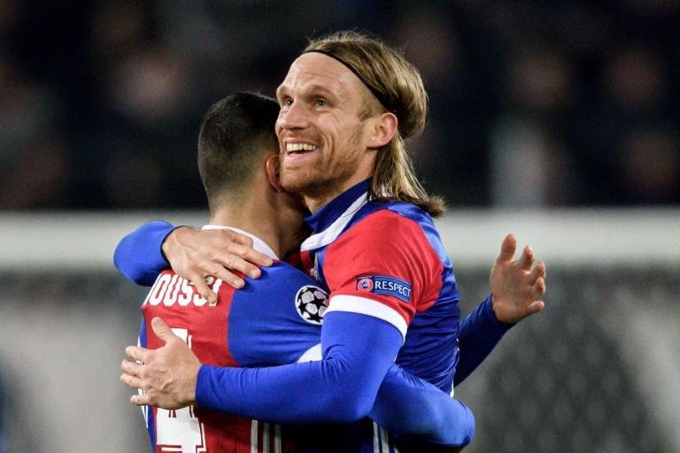 Basel's defender Michael Lang (R), who scored the only goal of the game, reacts at the end of the UEFA Champions League Group A football match against Manchester United November 22, 2017