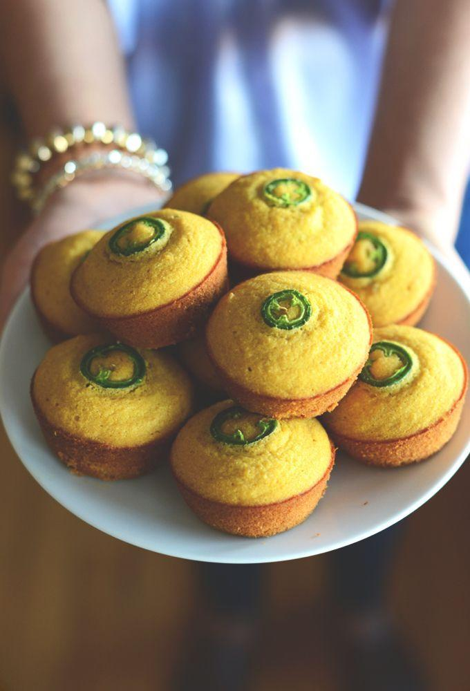 """<p>These cornbread muffins are made with pumpkin puree for moisture, but you can also use applesauce if needed. Serve them with a drizzle of honey and a pat of butter for the ultimate sweet-and-spicy combo. </p><p><strong>Get the recipe at <a href=""""https://minimalistbaker.com/gluten-free-jalapeno-cornbread-muffins/"""" rel=""""nofollow noopener"""" target=""""_blank"""" data-ylk=""""slk:Minimalist Baker"""" class=""""link rapid-noclick-resp"""">Minimalist Baker</a>. </strong> </p>"""