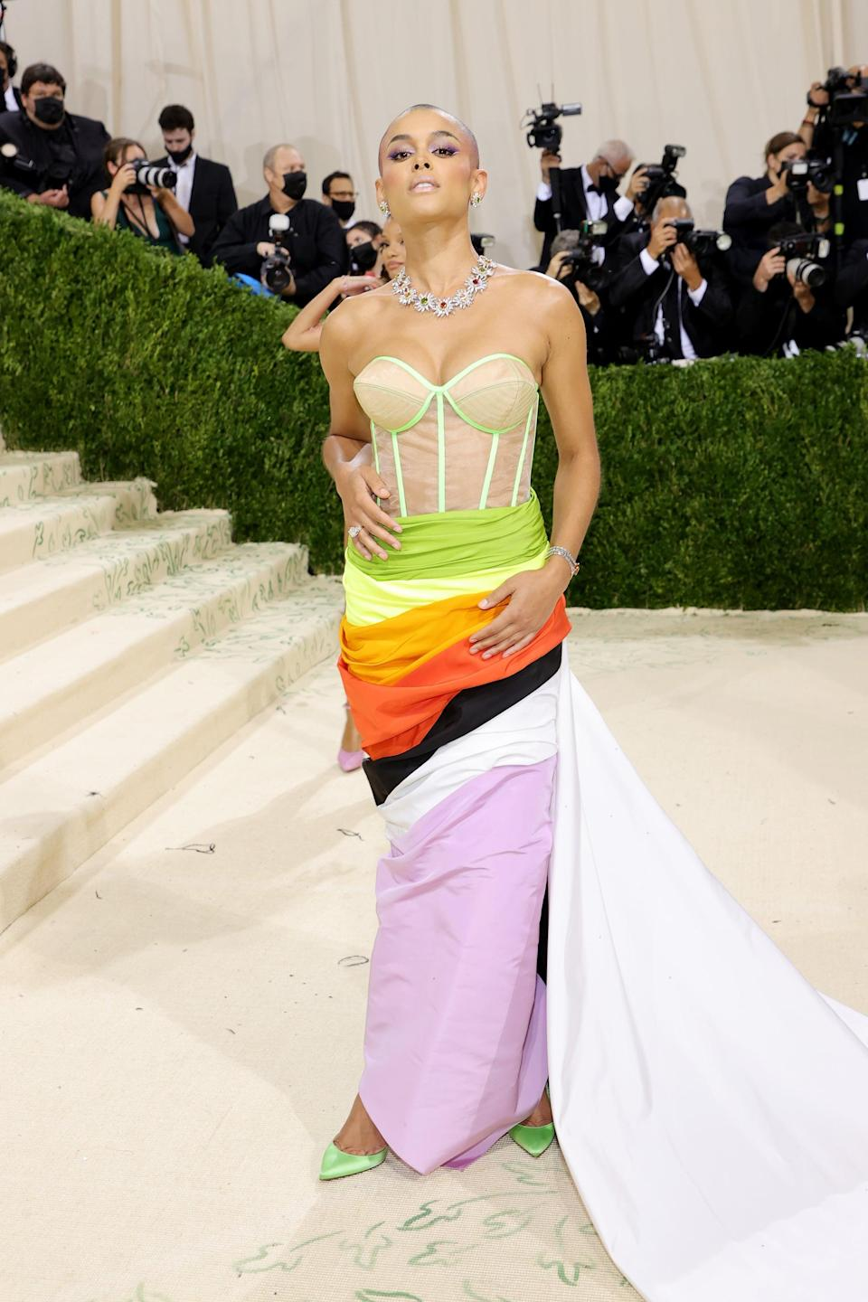 <p>Jordan Alexander made a statement in a corset-style gown that flowed into a colorful tiered hem by Christopher John Rogers.</p>