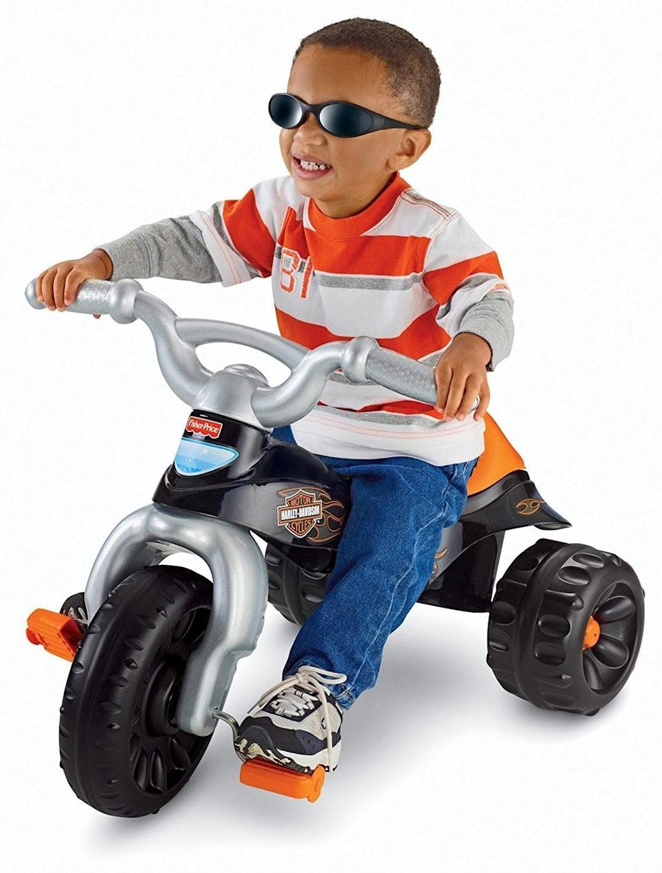 "<p>This <a href=""https://www.popsugar.com/buy/Fisher-Price-Harley-Davidson-Tough-Trike-329360?p_name=Fisher-Price%20Harley-Davidson%20Tough%20Trike&retailer=amazon.com&pid=329360&price=39&evar1=moms%3Aus&evar9=25800161&evar98=https%3A%2F%2Fwww.popsugar.com%2Fphoto-gallery%2F25800161%2Fimage%2F44870310%2FFisher-Price-Harley-Davidson-Tough-Trike&list1=gifts%2Choliday%2Cgift%20guide%2Cparenting%2Ckid%20shopping%2Choliday%20for%20kids%2Cgifts%20for%20toddlers%2Cbest%20of%202019&prop13=api&pdata=1"" class=""link rapid-noclick-resp"" rel=""nofollow noopener"" target=""_blank"" data-ylk=""slk:Fisher-Price Harley-Davidson Tough Trike"">Fisher-Price Harley-Davidson Tough Trike</a> ($39) includes durable tires and easy-grip handlebars.</p>"