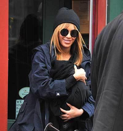 Beyonce was spotted breastfeeding baby Blue Ivy in New York while out dining with Jay-Z.