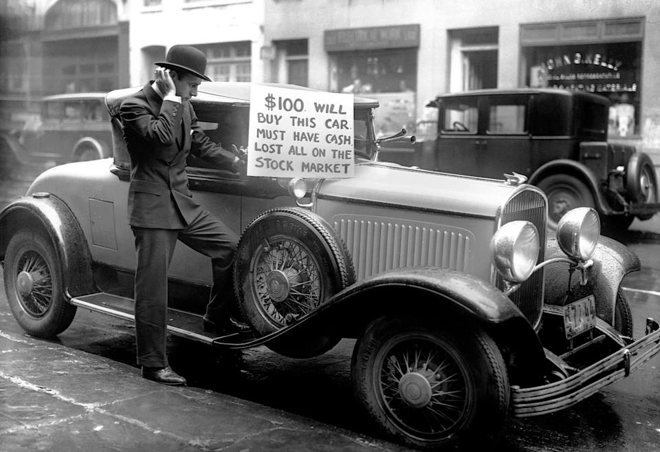 A bankrupt investor tries to sell his luxury roadster for $100 following the 1929 stock market crash. The sharp decline of stock market prices that October—one of the worst in U.S. history—led to the Great Depression.