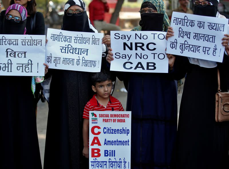 Demonstrators protest against the Citizenship Amendment Bill, in Ahmedabad