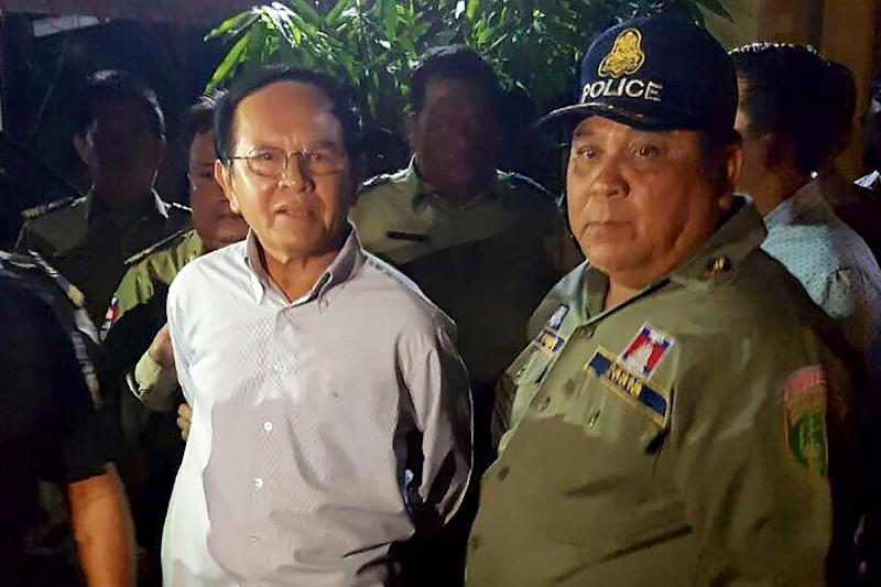 Cambodian opposition leader Kem Sokha was arrested in September 3 accused of treason, the latest in a flurry of legal cases lodged against critics and rivals of strongman premier Hun Sen (AFP Photo/STR)