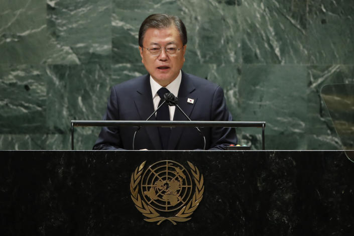 """FILE - In this Sept. 21, 2021, file photo, South Korea's President Moon Jae-in addresses the 76th Session of the U.N. General Assembly. North Korea rebuffed South Korea's push for a declaration to end the 1950-53 Korean War as a way to restore peace, saying Friday, Sept. 24, such a step could be used as a """"smokescreen covering up the U.S. hostile policy"""" against the North. In a speech at the U.N. General Assembly earlier this week, Moon reiterated his calls for the end-of-the-war declaration that he said could help achieve denuclearization and lasting peace on the Korean Peninsula.(Eduardo Munoz/Pool Photo via AP, File)"""