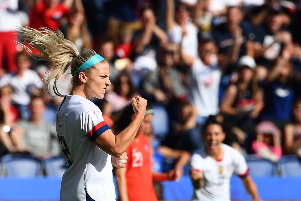 United States' midfielder Julie Ertz celebrates after scoring a goal during the France 2019 Women's World Cup Group F football match between USA and Chile, on June 16, 2019, at the Parc des Princes stadium in Paris. (Photo by FRANCK FIFE / AFP)        (Photo credit should read FRANCK FIFE/AFP/Getty Images)
