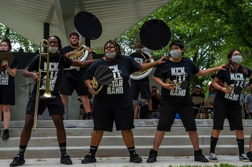 Members of the KCK All Star Band perform at the second annual Advocacy and Awareness Peace March and Rally on Juneteenth, Saturday, June 19, 2021, at Thompson Park in Overland Park, Kansas. Community members clapped and danced as the band performed.