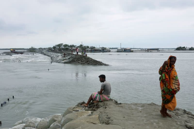 Coastal area is seen flooded after the embankment is destroyed as the cyclone Amphan makes its landfall in Satkhira