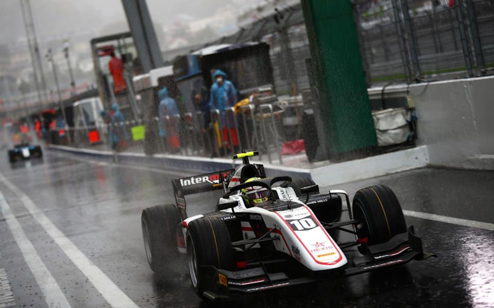 Theo Pourchaire of France and ART Grand Prix (10) drives on his way to the grid during sprint race 1 of Round 6:Sochi of the Formula 2 Championship at Sochi Autodrom on September 25, 2021 in Sochi, Russia - Formula 1/Formula Motorsport Limited via Getty Images