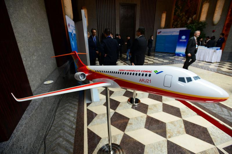 A model of China's ARJ21 aircraft is seen at the CAAC - EASA Aviation Safety Conference in Shanghai