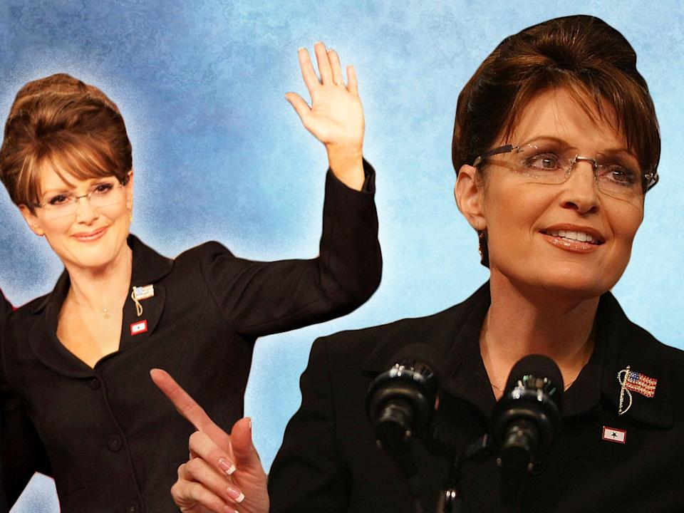 'Hollywood lies!': Julianne Moore as Sarah Palin in Game Change, and the actual Sarah Palin (HBO/Mario Tama/Getty Images)
