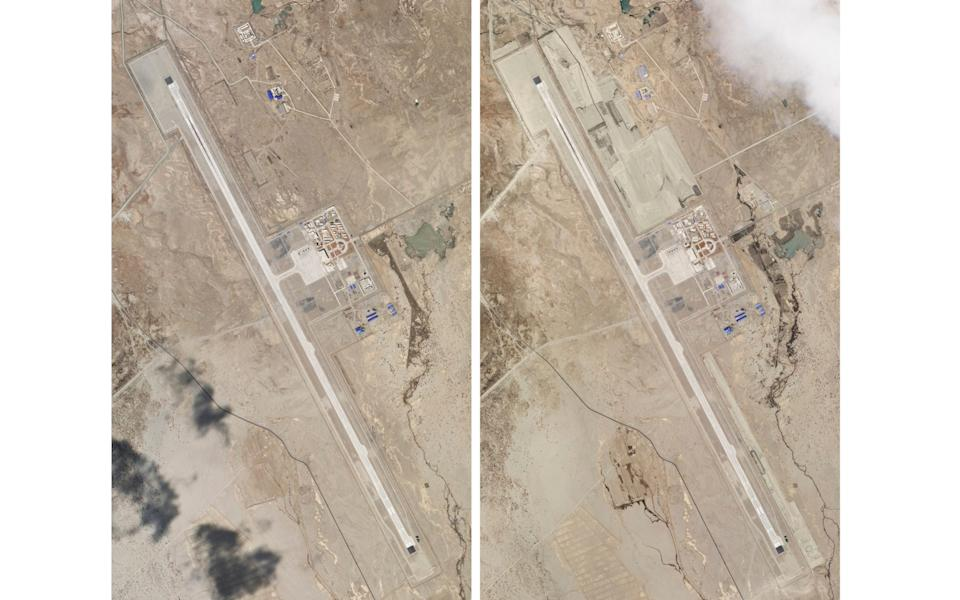Satellite photos of China's Ngari Gansa civil-military airport base taken on April 1, left, and May 17, 2020, near the border with India show development  - Planet Labs via AP