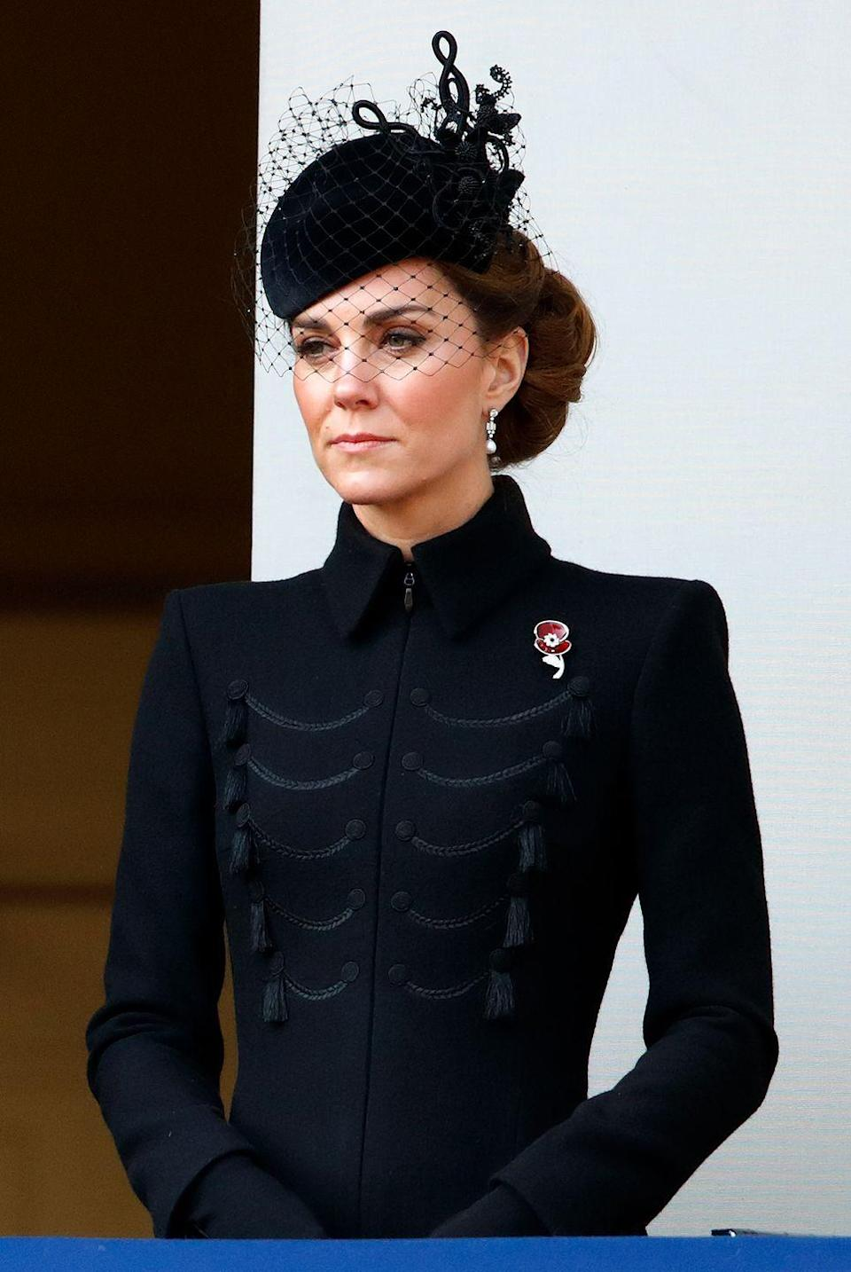 """<p>The Duchess of Cambridge attends the annual Remembrance Sunday service at The Cenotaph. She wore a coat dress by <a href=""""https://www.alexandermcqueen.com/us"""" rel=""""nofollow noopener"""" target=""""_blank"""" data-ylk=""""slk:Alexander McQueen"""" class=""""link rapid-noclick-resp"""">Alexander McQueen</a>. </p>"""